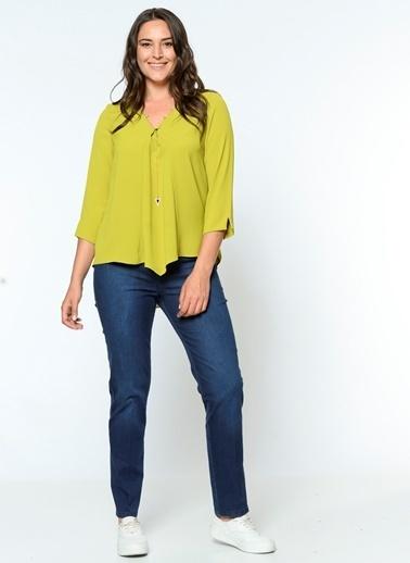 Selen Truvakar Kol V Yaka Bluz Yeşil